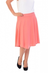 PRE ORDER: Pretty Pleated Flared Skater Skirt - Coral