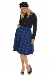 PRE ORDER: Trendy Tartan A-Line Skater Skirt - Royal Blue