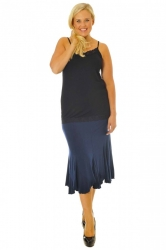 PRE ORDER: Wonderful Wispy Jagged Edge Panel Skirt - Navy Blue