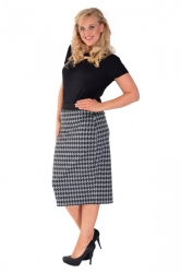 PRE ORDER: Houndstooth Ponte Midi Pencil Skirt - Charcoal