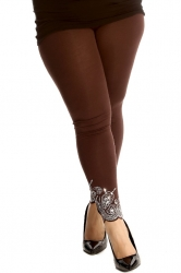 PRE ORDER: Lovely Embellished Laser Cut Leggings - Brown
