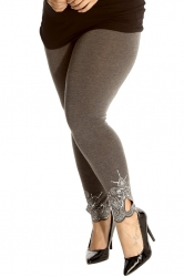 PRE ORDER: Lovely Embellished Laser Cut Leggings - Charcoal