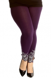 PRE ORDER: Lovely Embellished Laser Cut Leggings - Purple