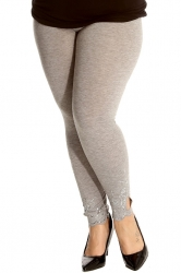 PRE ORDER: Lovely Embellished Laser Cut Leggings - Silver Grey