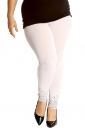 PRE ORDER: Lovely Embellished Laser Cut Leggings - White