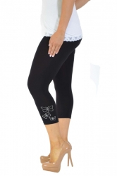 PRE ORDER: Embellished Butterfly Foil Cropped Leggings - Black