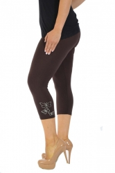 PRE ORDER: Embellished Butterfly Foil Cropped Leggings - Brown
