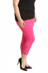 PRE ORDER: Embellished Butterfly Foil Cropped Leggings - Cerise