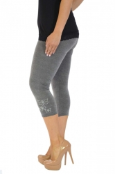 PRE ORDER: Embellished Butterfly Foil Cropped Leggings -Charcoal