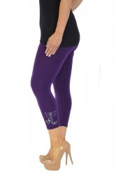 PRE ORDER: Embellished Butterfly Foil Cropped Leggings - Purple