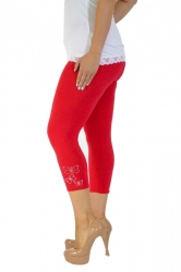 PRE ORDER: Embellished Butterfly Foil Cropped Leggings - Red