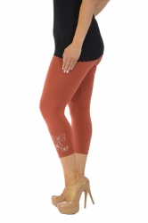 PRE ORDER: Embellished Butterfly Foil Cropped Leggings - Rust