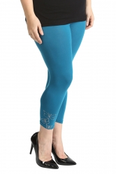 PRE ORDER: Embellished Butterfly Foil Cropped Leggings - Teal