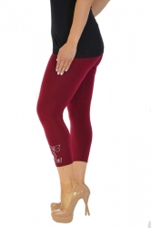 PRE ORDER: Embellished Butterfly Foil Cropped Leggings - Wine