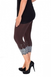 PRE ORDER: Embellished Scalloped Leggings - Brown & Silver