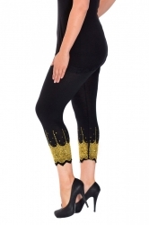 PRE ORDER: Embellished Scalloped Leggings - Black & Gold