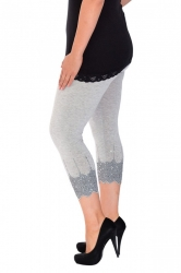 PRE ORDER: Embellished Scalloped Leggings - Grey & Silver