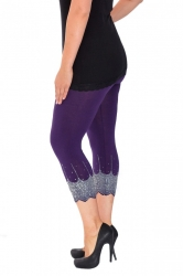 PRE ORDER: Embellished Scalloped Leggings - Purple & Silver
