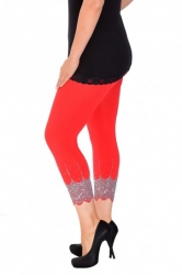 PRE ORDER: Embellished Scalloped Leggings - Red & Silver