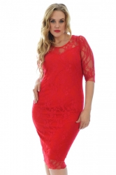 PRE ORDER: Sexy Lace Sweetheart Sheath Dress - Red