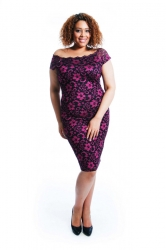 PRE ORDER: Two-Tone Floral Lace Bodycon Dress - Cerise