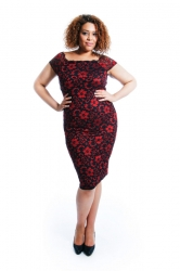 PRE ORDER: Two-Tone Floral Lace Bodycon Dress - Red