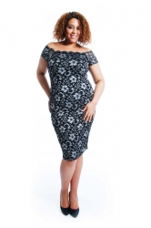 PRE ORDER: Two-Tone Floral Lace Bodycon Dress - Silver