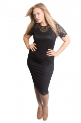 PRE ORDER: Floral Lace Bodycon Dress - Black