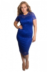 PRE ORDER: Floral Lace Bodycon Dress - Royal Blue