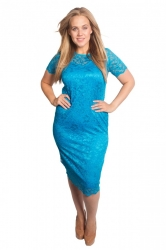 PRE ORDER: Floral Lace Bodycon Dress - Turquoise