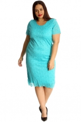 PRE ORDER: Floral Lace Midi Dress - Turquoise