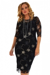 PRE ORDER: Floral Foil Dress - Black & Silver