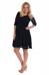 PRE ORDER: Pretty Lace Lined Skater Dress - Black