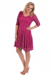PRE ORDER: Pretty Lace Lined Skater Dress - Cerise