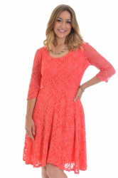 PRE ORDER: Pretty Lace Lined Skater Dress - Coral