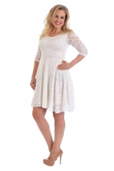PRE ORDER: Pretty Lace Lined Skater Dress - Ivory