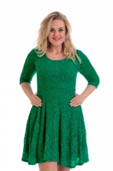 PRE ORDER: Pretty Lace Lined Skater Dress - Jade