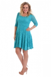 PRE ORDER: Pretty Lace Lined Skater Dress - Turquoise