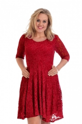 PRE ORDER: Pretty Lace Lined Skater Dress - Wine