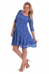 PRE ORDER: Pretty Lace Lined Skater Dress - Blue