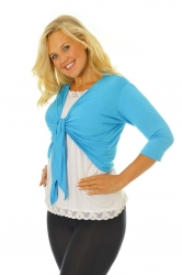PRE ORDER: Too Cute Two Way Tie Shrug - Turquoise
