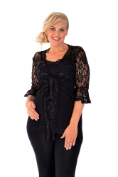 PRE ORDER: Fabulous Flounce Lace Sequin Tie-up Shrug - Black