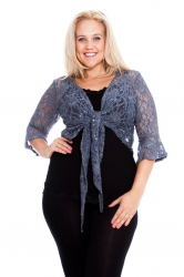 PRE ORDER: Fabulous Flounce Lace Sequin Tie-up Shrug - Charcoal