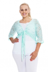 PRE ORDER: Fabulous Flounce Lace Sequin Tie-up Shrug - Mint