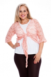 PRE ORDER: Fabulous Flounce Lace Sequin Tie-up Shrug - Peach