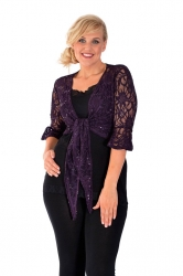 PRE ORDER: Fabulous Flounce Lace Sequin Tie-up Shrug - Purple