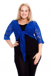 PRE ORDER: Fabulous Flounce Lace Sequin Tie-up Shrug - RoyalBlue