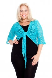 PRE ORDER: Fabulous Flounce Lace Sequin Tie-up Shrug - Turquoise