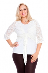 PRE ORDER: Fabulous Flounce Lace Sequin Tie-up Shrug - White