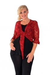PRE ORDER: Fabulous Flounce Lace Sequin Tie-up Shrug - Wine